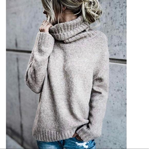 Oversized Turtleneck Pullover Sweater